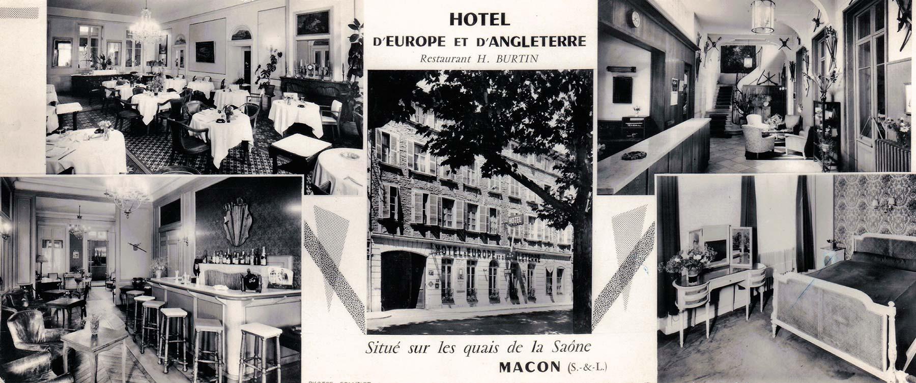 Ancienne carte de l'Hotel d'Europe et d'Angleterre